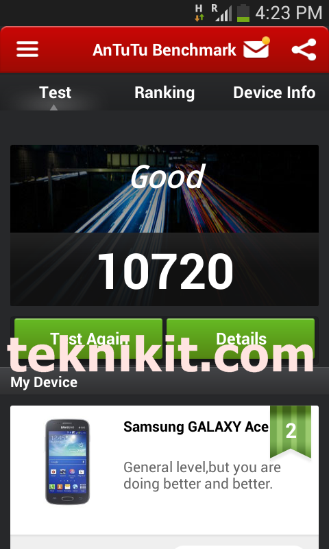 AnTuTu Benchmark Galaxy Ace 3