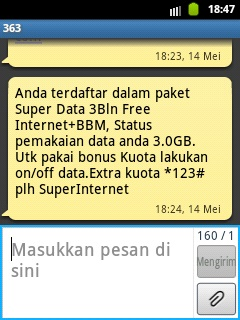Cek Kuota 3GB Kartu Mentari Super Data