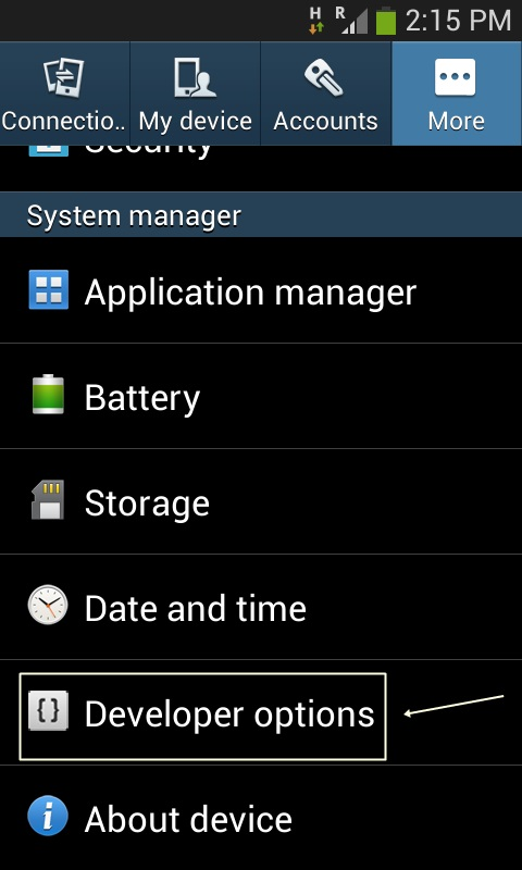 Menu Developer Options Samsung Galaxy Ace 3