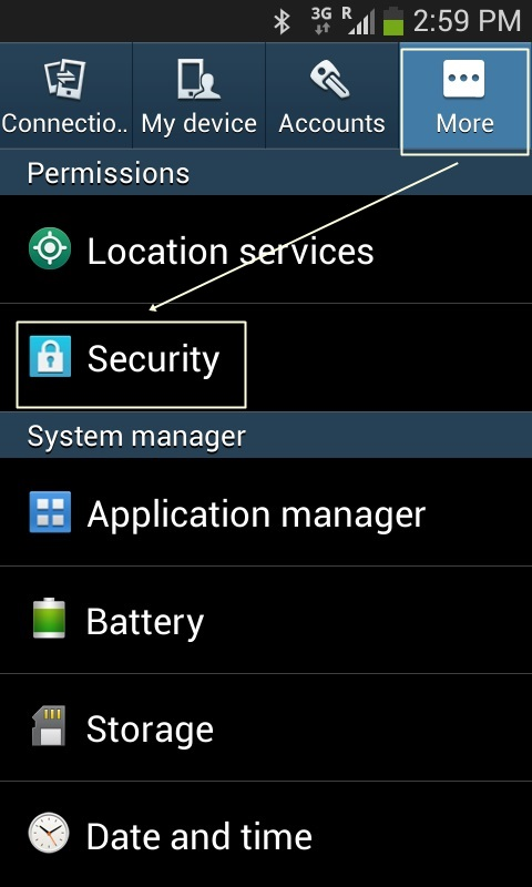 Security Setting Samsung Galaxy Ace 3