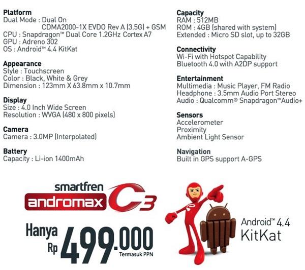 Spesifikasi Harga Smartfren Andromax C3
