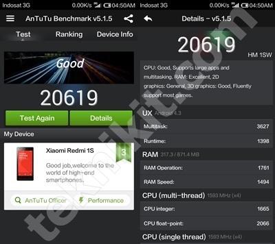 Benchmark Setelah Redmi 1S Update ROM