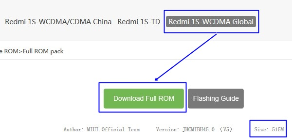 Download ROM Xiaomi Redmi 1S