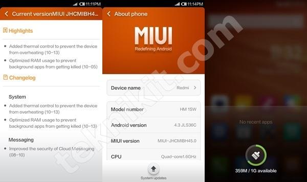 Xiaomi Redmi 1S Setelah Update ROM