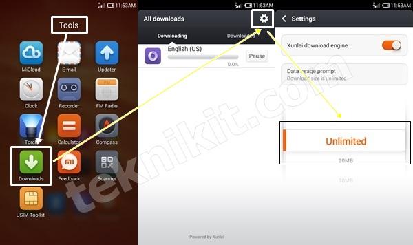Setelan Download Xiaomi Redmi Note