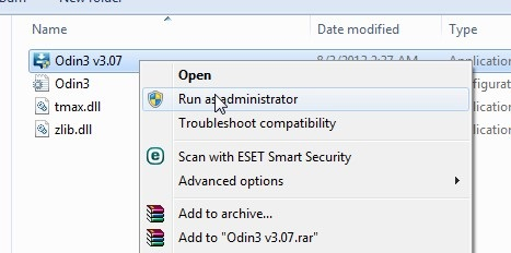 Buka File Odin 307 Run as Administrator