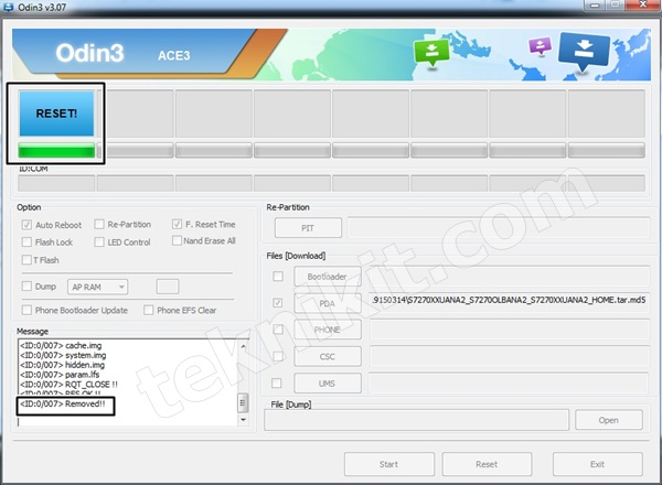 Proses Flashing Samsung Galaxy Ace 3 Sukses
