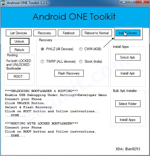 Install Driver Android One Toolkit