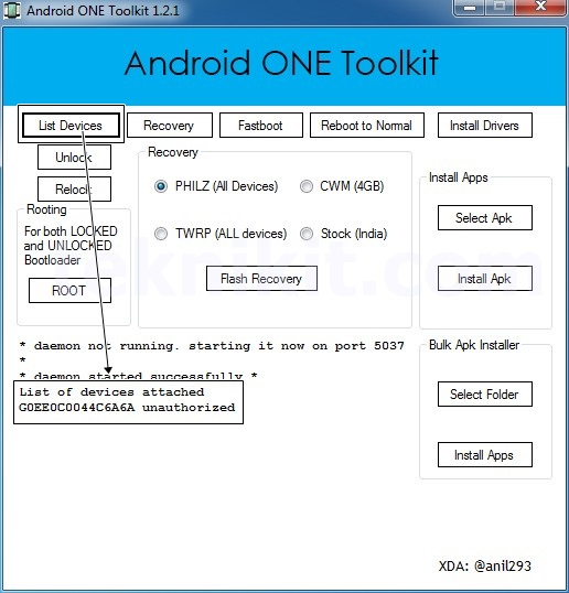 List Devices Android One Toolkit