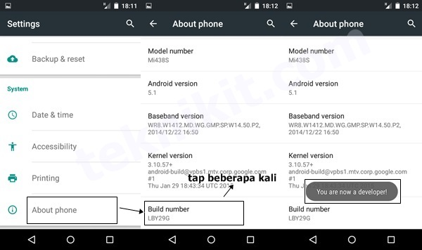 Mengaktifkan Developer Options Android One