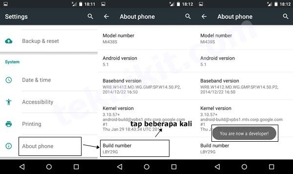 Mengaktifkan Developer Options Android One