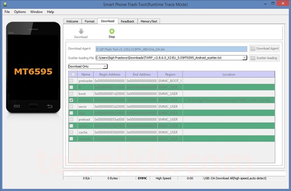 Download Mode SP Flash Tool Lenovo Vibe X2