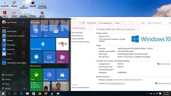 Tampilan Baru Windows 10 Pro