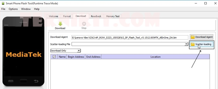 Pilih Scatter File SP Flashtool
