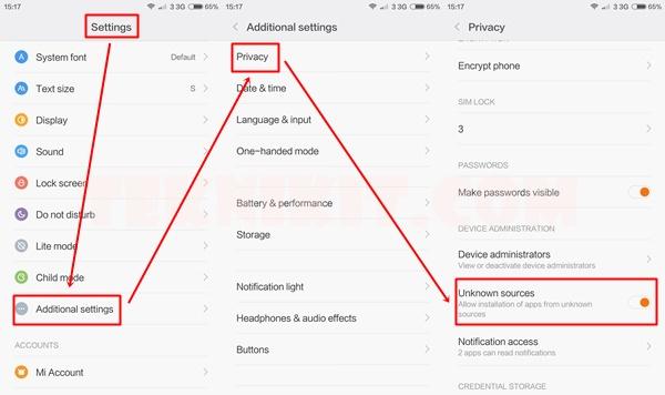 Setting Install Aplikasi Xiaomi Redmi Note 2