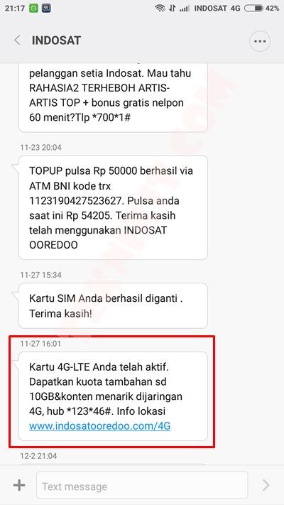 SMS Kartu 4G Indosat Telah Aktif