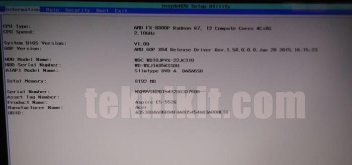 Tampilan BIOS Acer Aspire E5-552G
