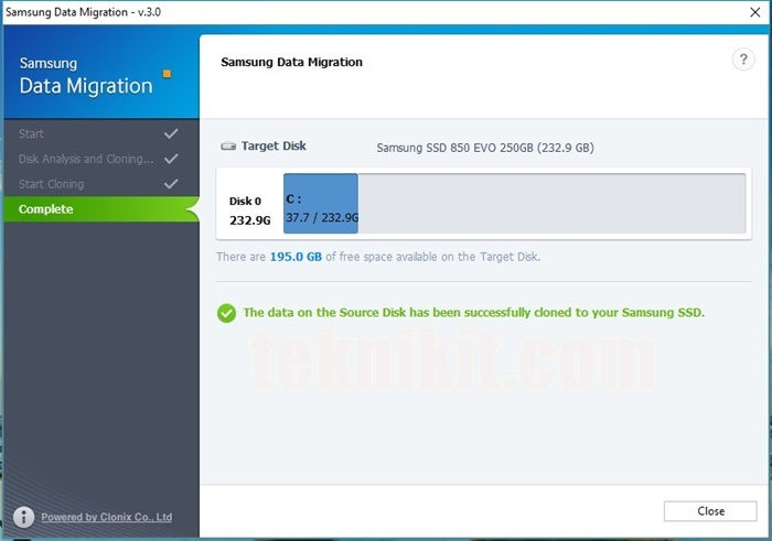 Proses Salin Windows ke SSD Samsung Sukses