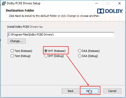 Install DHT (Release) Driver PCEE Dolby