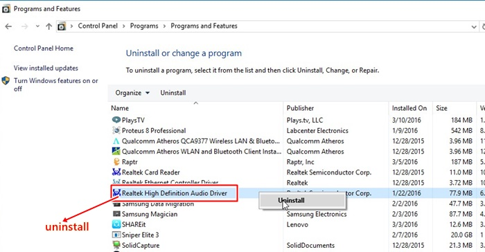 Uninstall Driver Realtek High Definition Audio
