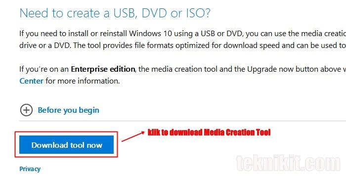 Download ISO Windows 10 Menggunakan Media Creation Tool
