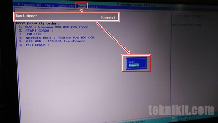 Pengaturan Boot Mode UEFI dan Legacy