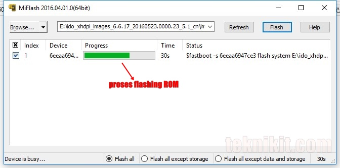 Proses Flashing ROM MIUI 8 Lewat Mi Flash Tool