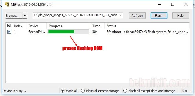 Proses Flashing ROM MIUI 8 Lewat Mi Flash Tool