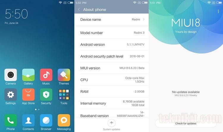 Tampilan MIUI 8 Xiaomi Redmi 3