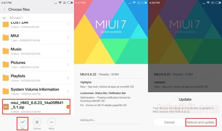 Update MIUI 8 Xiaomi Redmi 3