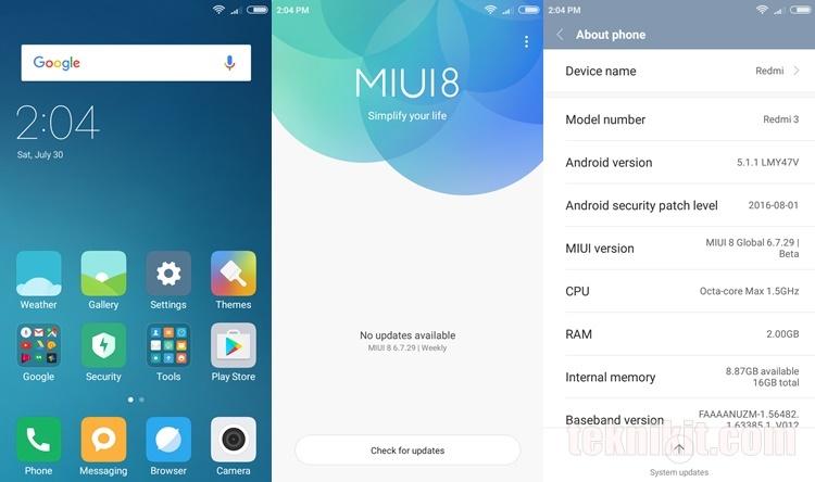 Install ROM MIUI 8 Global Xiaomi Redmi 3