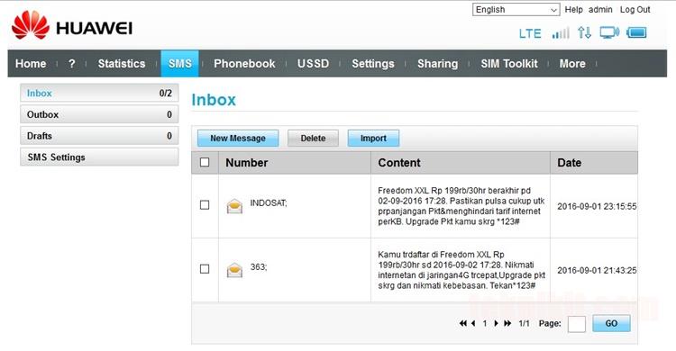 Fitur SMS Web GUI Huawei Modem Bolt