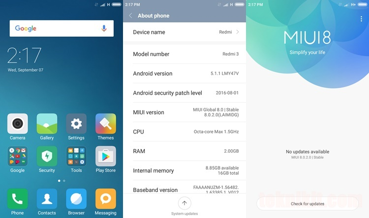 MIUI 8 Global Stable Xiaomi Redmi 3