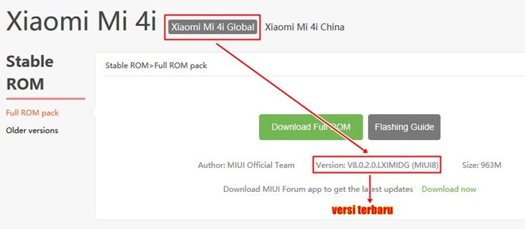 ROM versi terbaru Xiaomi Mi4i