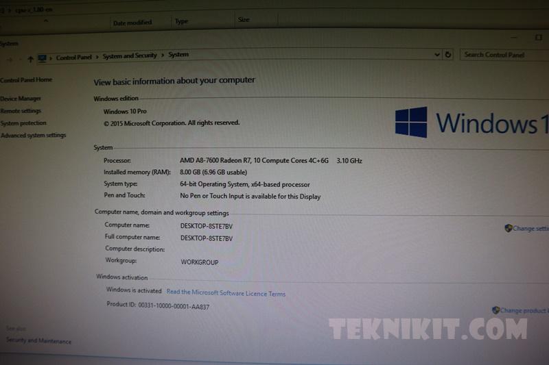 Penggunaan RAM Pada AMD A8-7600