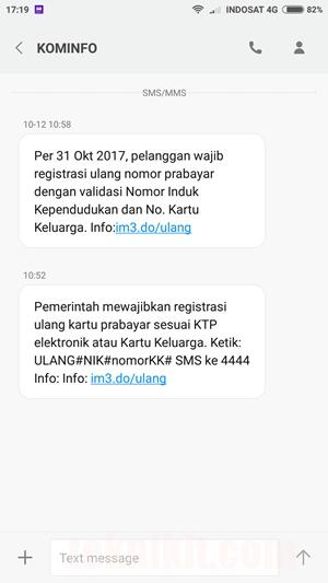 SMS Dari KOMINFO Registrasi Ulang Kartu Prabayar