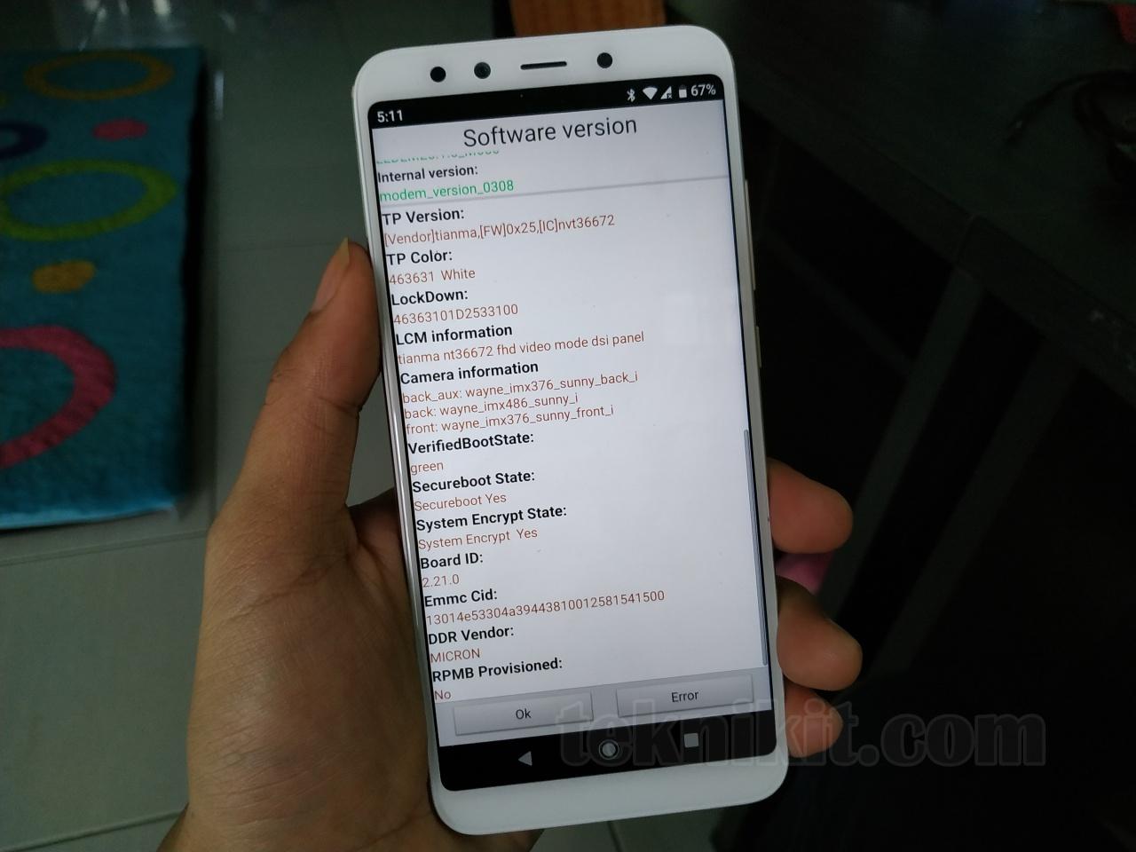 Tipe Sensor Kamera Xiaomi Mi A2