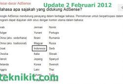 Google Adsense Per 1 Februari 2012 Sudah Support Bahasa Indonesia